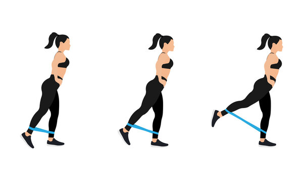 Athletic woman in sportswear doing exercises with resistance bands, isolated on white background. Vector illustration in flat design