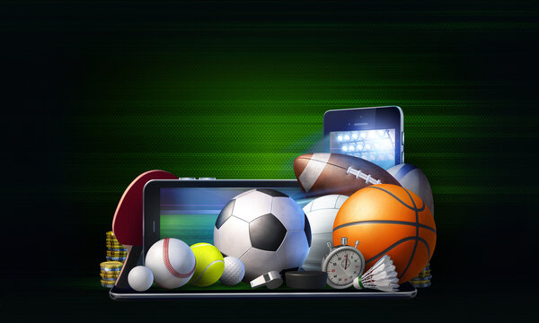 Abstract concept of live betting on the outcome of sporting events. 3D rendered illustration with generic sports equipment against dark green background with copy space