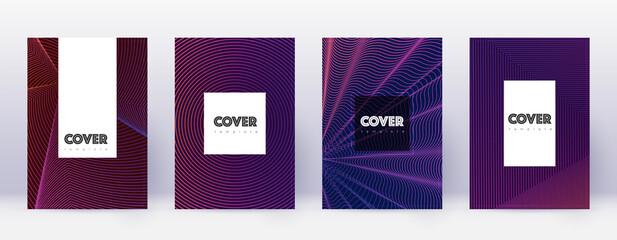 Hipster brochure design template set. Violet abstr