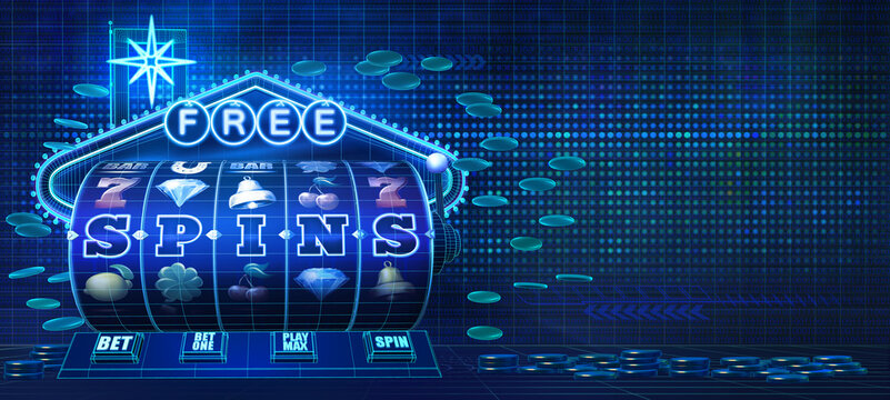 Abstract gambling concept image for mobile casinos offering free spins rounds on slot games. 3D illustration with wireframe style computer generated 5-reels slot machine and a neon sign