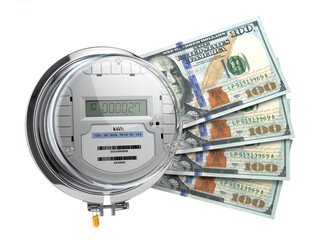Electric meter with dollars. Electricity consumption, cost of utilities and saving concept.