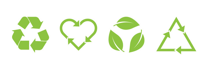 Recycle vector icon set. Arrows, heart and leaf recycle eco green symbol. Rounded angles. Recycled signs illustration isolated on white background.