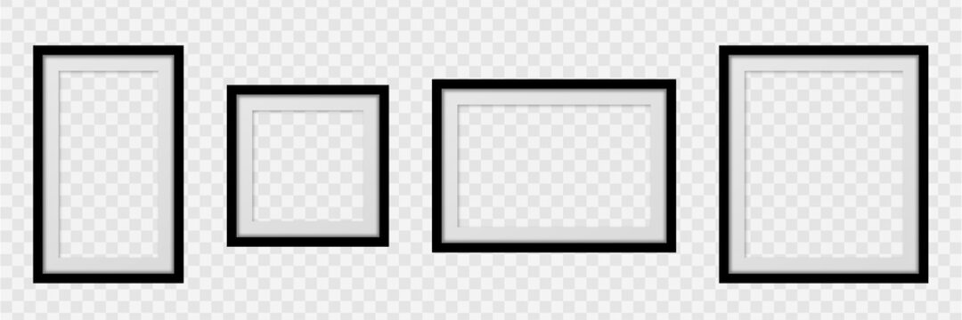 Set Realistic empty frames on transparent background. Collection square photo frame empty blank mockup.