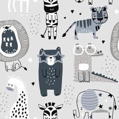 Seamless childish pattern with cute bears, tiger,elephant,giraffe,zebra, crocodile. Creative scandinavian kids texture for fabric, wrapping, textile, wallpaper, apparel. Vector illustration