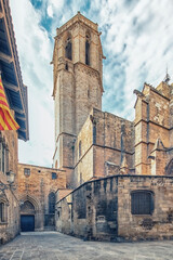 Wall Mural - The street behind the Barcelona Cathedral, Spain