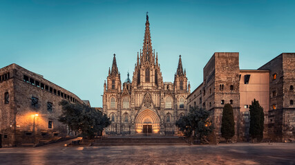 Wall Mural - Barcelona Cathedral in the evening, Spain