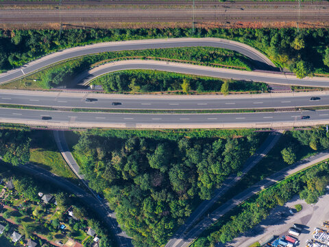 Top view of a highway exit in the Ruhrgebiet in Germany