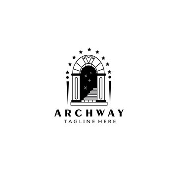 archway, stairs. logo template black design vector