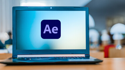 Laptop computer displaying logo of Adobe After Effects