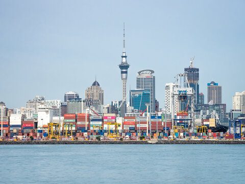 Auckland, New Zealand - Feb 14, 2020: The new construction on the port of Auckland, the largest commercial port in New Zealand.