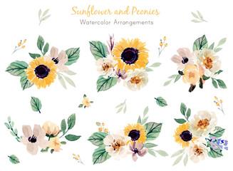 Sunflower and Peonies Watercolor Arrangements