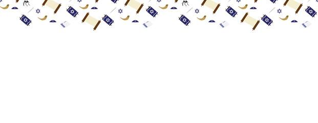 Jewish elements border - Torah scroll, Torah hand, Tallit, Star of David, Tefillin, and Shofar on White Background