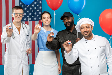 Multi-cultural group of young contemporary doctor, maid, chef and security