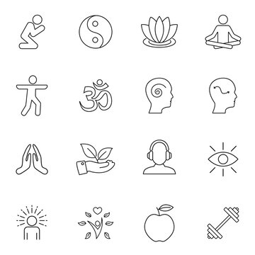 Meditation Practice and Yoga Vector Line Icons Set. Relaxation, Inner Peace, Self-knowledge, Inner Concentration. EPS 10