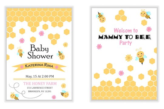 Bee Baby Shower invitation templates set Mommy