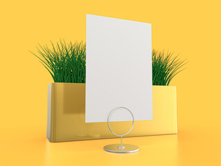 Blank paper Table Tent. Mockup on yellow background. 3D illustration.