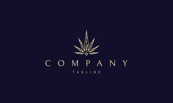 Vector golden logo in which an abstract image of sharp cannabis leaves with veins and a diamond at the bottom.