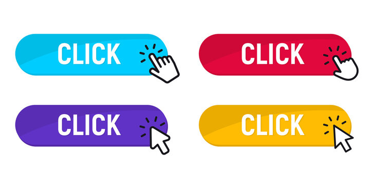 Click Here Button with Click cursor. Set for button website design. Click button. Modern action button with mouse click symbol. Computer mouse click cursor or Hand pointer symbol