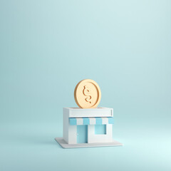 Coin in stores, Earning money with franchise business, 3d render