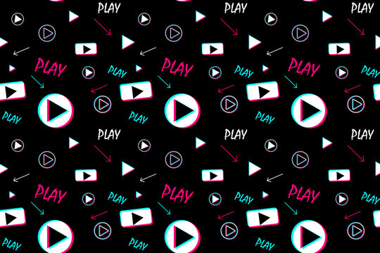 Seamless pattern with video player signs. Background for fabric, wrapping, wallpaper, social media. Decorative print.