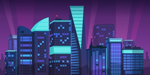 Cartoon night city. Skyline landscape with megapolis buildings and neon lights, futuristic violet skyscrapers. Vector illustration urban background with architecture building silhouette