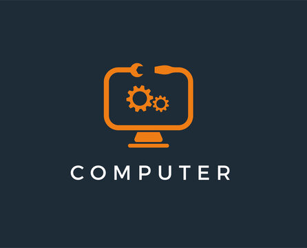 minimal computer repair logo template - vector illustration