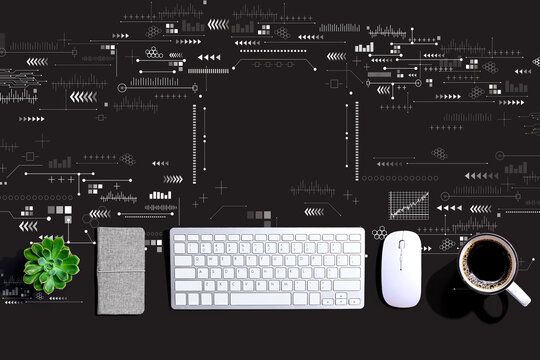 Technology screen with a computer keyboard and a mouse