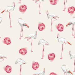 Seamless pattern with white flamingos and pink garden roses flowers. Simple design to fabric. Light pattern. Beige background.