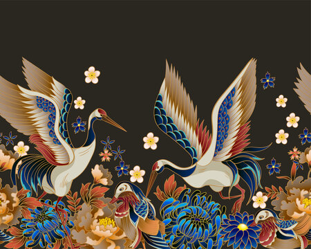 Border with mandarin ducks, flowers and cranes. Vector.