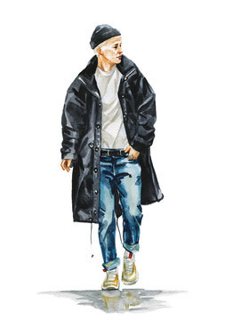 Fashion watercolor illustration of man in stylish trendy outfit. Hand drawn painting of male hipster. Street style look