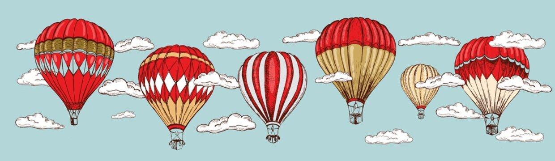Hot air balloons flying. Hand drawn illustration