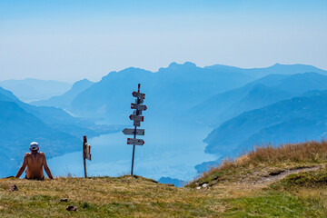 Trekking on Lake Como alps (the arrows indicates the names of the locations reached by the trails)