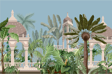 Border with jungle trees and ancient castle. Vector.
