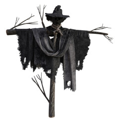 Tall scary scarecrow isolated on white, 3d render.