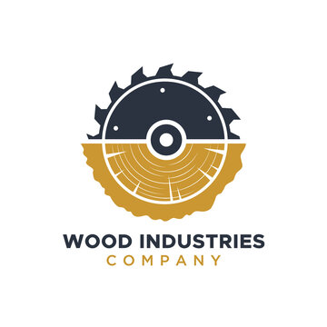 Wood Industries Company logo with the concept of saws and carpentry and classic and modern style