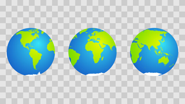 set of 3 emoji-style globes. Blue and green with highlight. Vector.