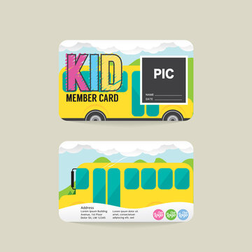 Font And Back Kids Member Card Template Vector Illustration
