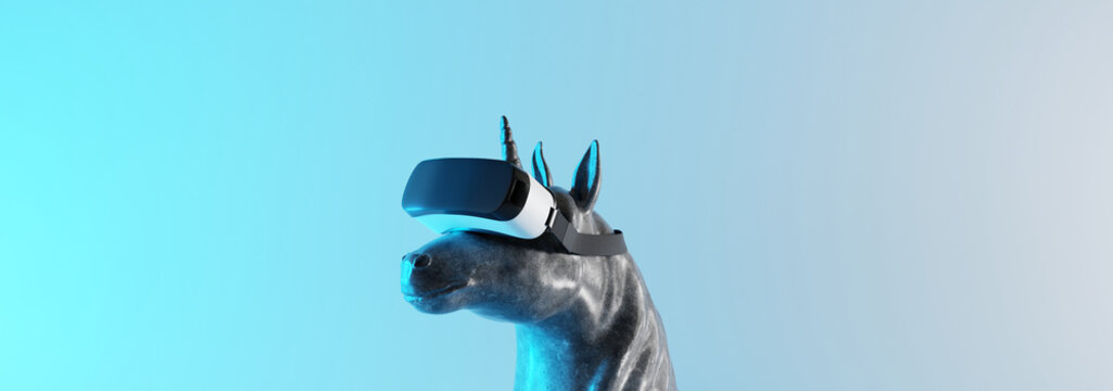 Concrete unicorn statue with virtual reality headset on neon light background. Creative idea. Technology concept. 3d rendering