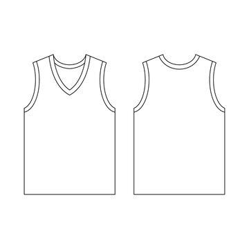 Template jersey basketball v-neck vector illustration flat design outline template clothing collection