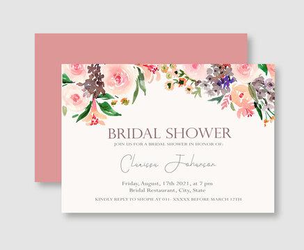 Pink Rose Floral Bridal Shower Invitation