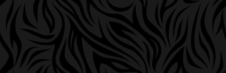 Zebra skin, stripes pattern. Animal print, black texture. Monochrome seamless background. Vector illustration