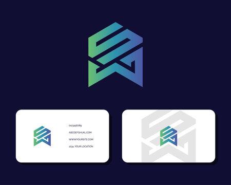 Letter S W logo design with business card vector template.. creative minimal monochrome monogram symbol. Premium business logotype. Graphic alphabet symbol for corporate identity