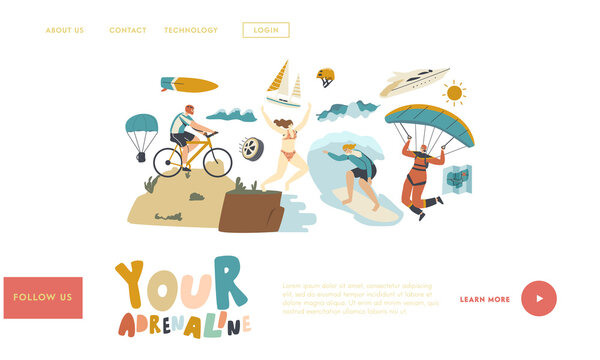 Leisure Sport Xtreme Recreation Landing Page Template. Characters Summer Extreme Sport Surfing, Paragliding, Biking