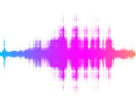 Abstract multicolored dotted sound wave.