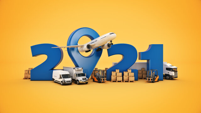 world wide cargo transport concept. 2021 New Year sign. 3d rendering