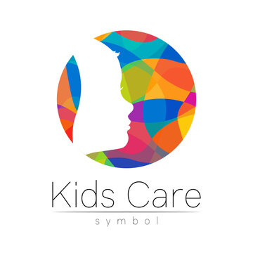 Child logotype in rainbow circle colors, vector. Silhouette profile human head. Concept logo for people, children, autism, kids, therapy, clinic, education. Template symbol, modern design on white