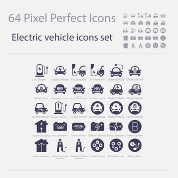 Battery Electric Vehicle Icon.(BEV,EV).Electric car.Charger station.Battery power plug.Home Charging.