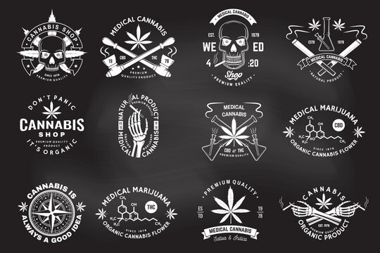 Set of medical cannabis badge, label with skull, skeleton hand, smoking marijuana. Vector Vintage typography logo design with cannabis, skeleton hand silhouette For weed shop, marijuana delivery