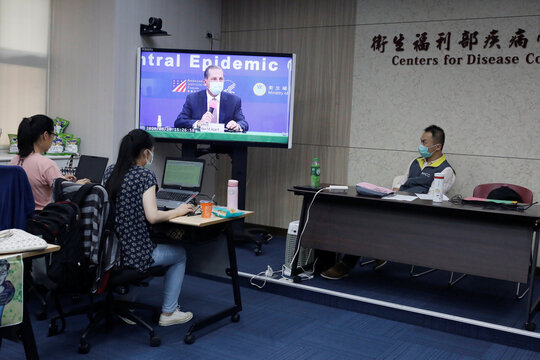 U.S. Secretary of Health and Human Services Alex Azar speaks during a news conference in Taipei