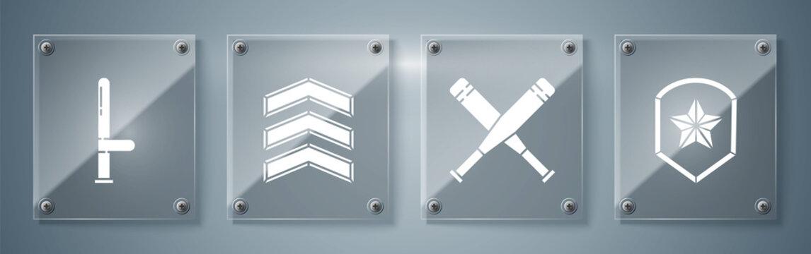 Set Police badge, Crossed baseball bat, Military rank and Police rubber baton. Square glass panels. Vector.